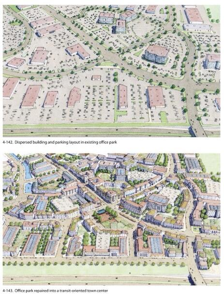 Habitat for people: Dispersed design, top, vs compact design, bottom.